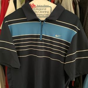 NIKE ROGER FEDERER POLO SHIRT NAVY BLUE SZ MEN'S M
